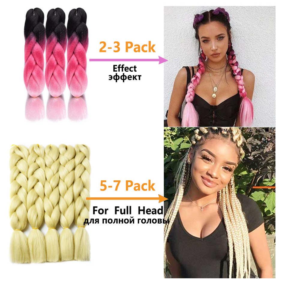 24 zoll Jumbo Zöpfe Lange Ombre Jumbo Synthetische Flechten Haar Häkeln Blonde Rosa Blau Grau Haar Extensions Afrikanische Smart Braid