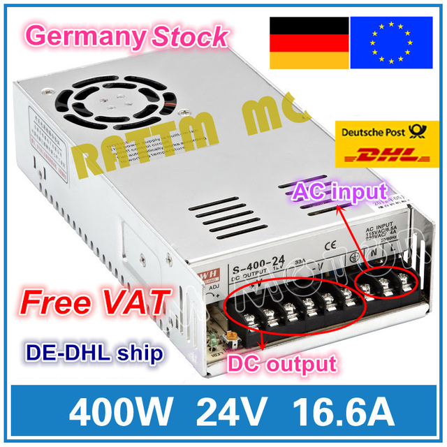 400W 24V Switch DC Power supply S 400 24 16.6A Single Output for CNC Router Foaming Mill Cut Laser Engraver Plasma