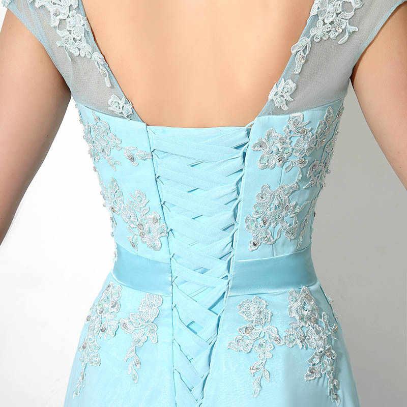 BGW Новогоднее платье Элегантное простое шифоновое платье невесты с круглым вырезом без рукавов синее кружевное вечернее платье Suknie Wieczorowe размера плюс