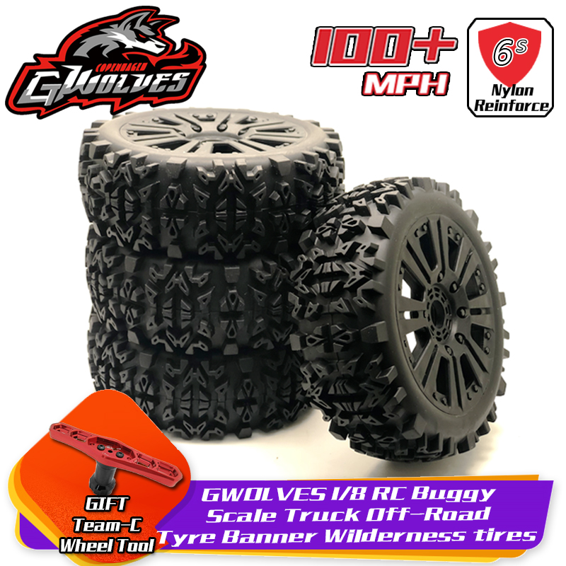 4pc GWOLVES 1/8 RC Buggy Scale Truck Off-Road Tyre Banner Wilderness tires glue <font><b>wheels</b></font> Contest practice for 1/8 RC car parts image