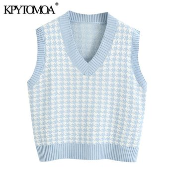 KPYTOMOA Women 2020 Fashion Houndstooth Loose Knitted Vest Sweater V Neck Sleeveless Side Vents Female Waistcoat Chic Tops