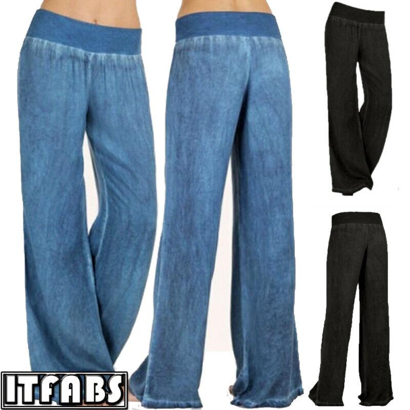 Womens Casual Loose Elastic Waist Trouser Cropped   Wide     Leg     Pants   Women Casual Cotton Linen Baggy   Pants   Elastic Waist Trousers