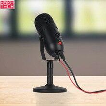 Cardioid Condensator Microfoon Met Realtime Luisteren Een Klik Mute Usb Desktop Microfoon