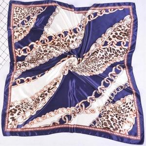Image 1 - Silk Schal Frauen Druck haar hals Platz Schals Büro Damen Schal Halstuch 90*90cm Moslemisches Hijab Taschentuch schalldämpfer foulard