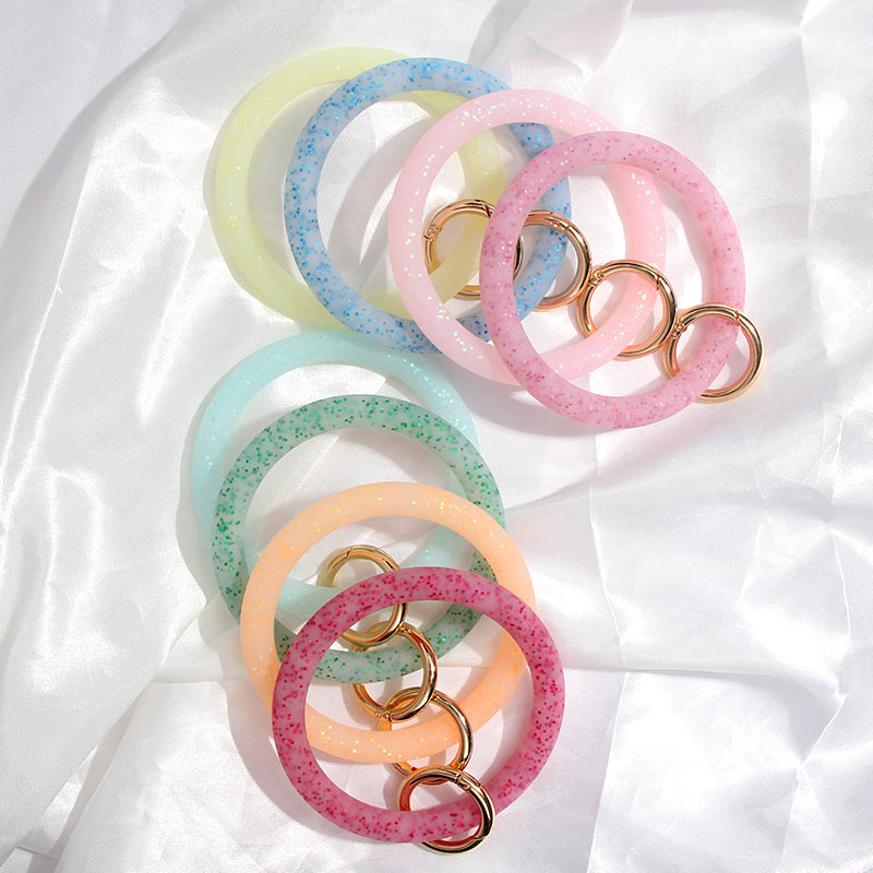 JUST FEEL Trendy Shiny Sequin Silicone Big O Keychain Loop Wrist Bracelet For Women Clasp Car O Keychain Wrist Strap Accessories