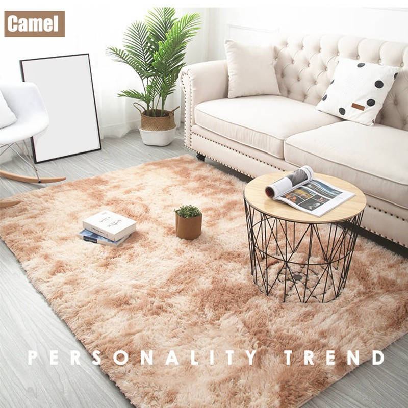 Soft Carpet Tie Dyeing Plush Carpets For Living Room Bedroom  Anti-slip Floor Mats Bedroom Water Absorption Carpet Rugs