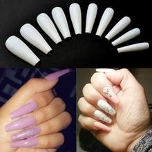 100 шт искусственные ногти, искусственный длинный балерина, чистые/натуральные/белые накладные ногти, полное покрытие, гроб, дизайн для ногтей JZJ3013