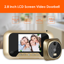 2.8 인치 LCD 디지털 초인종 160 ° 모션 감지 야간 투시경 전자 3 배 줌 초인종 틈 구멍 카메라 뷰어 도어 벨