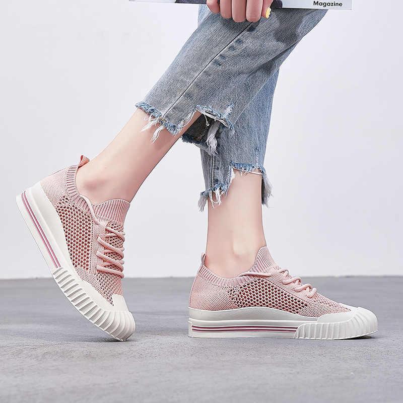 2019 malha respirável sapatos casuais femininos verão oco para fora mocassins sapatos planos branco preto rendas até sapatilhas planas chaussure femme