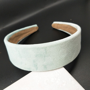 Image 2 - 8PC /4cm szerokość moda kobiety aksamitne szerokie wysokiej jakości DIY Hairband wygodne pałąk prosty czarny losowy kolor