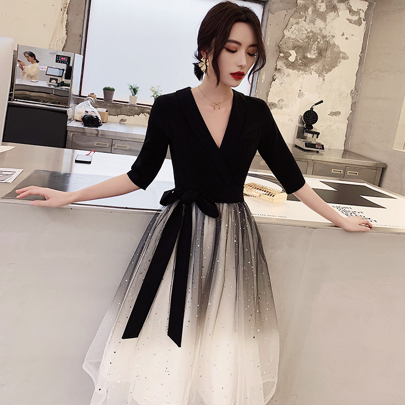2020 Direct Selling Vestido De Festa Evening Dress Hostess Stage Party Fairy Skirt Simple And Generous Temperament