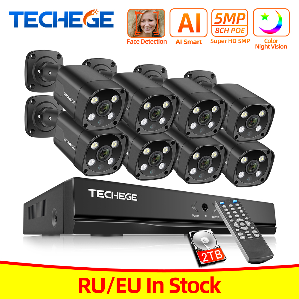 Top Sale▌Techege Video-Surveillance-Set Ip-Camera Cctv-Security-System POE Outdoor H.265 Audio-Ai