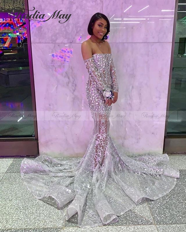 Glitter Sequin Off Shoulder African Silver Prom Dresses With Long Sleeves Court Train Black Girls Graduation Gowns Evening Gowns