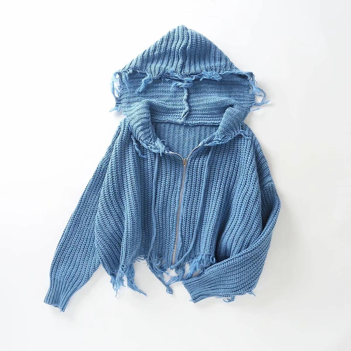 Женский Повседневный вязаный свитер с бахромой свободные укороченные