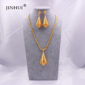 Dubai Luxury new 24K gold Jewelry sets for Women Indian bridal Ethiopia Necklace Earrings African Indian wedding set Wife gifts