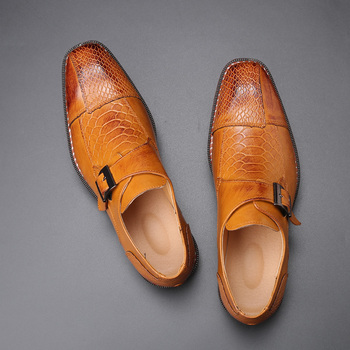 2020 Men's Dress Shoes Buckle Business Skyle Oxfords Formal Leather Shoes Elegant Wedding Loafers Big Size image