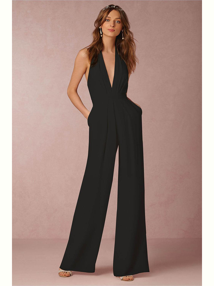 Adogirl Sexy V Neck Pleat Backless   Jumpsuit   Women Elegant Sleeveless With Pockets   Jumpsuit   Evening Party Wide Leg Pants Overalls