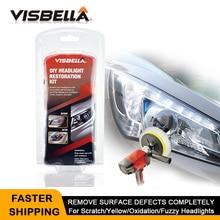 VISBELLAชุดฟื้นฟูไฟหน้าภาษาโปลิชคำไฟหน้าBrightener DIYสำหรับรถโคมไฟเลนส์Deep Clean Light Paste Best One
