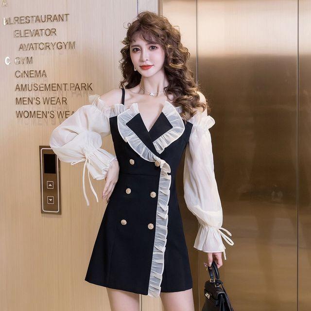 COIGARSAM Sexy Women one-piece dress korean Spaghetti Strap Dresses Black 6968 1