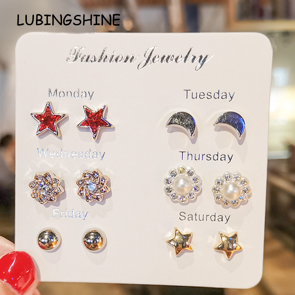 Lots Fashion Rhinestone Crystal Pearl Earrings Set Women Girl Ear Stud Jewelry
