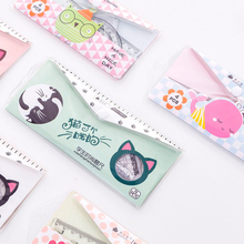 4 Pcs/set Cute Pink whale Plastic Transparent Ruler For Kids Student Stationery