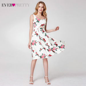 Image 5 - Elegnat Floral Printed Homecoming Dresses Ever Pretty Sleeveless A Line V Neck Simple Beach Style Graduation Dresses Vestidos