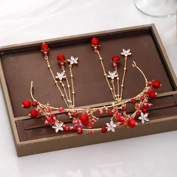 Czerwone perły kryształowe opaski na głowę w kwiaty dla kobiet Bride Noiva ślubne tiary korony kolczyki komplety biżuterii ozdoby do włosów 2020 tanie i dobre opinie ACRDDK Ze stopu cynku CN (pochodzenie) Kobiety Metal Klasyczny Zestawy biżuterii dla nowożeńców 50748 Ślub