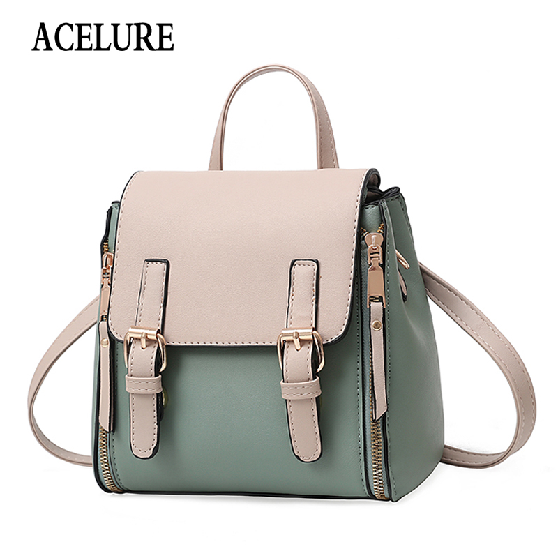 ACELURE All-match Simple Style Ladies Bag Pack Women Backpack Fashion Minimalist PU Leather School Bags Shopping Tracel Bags