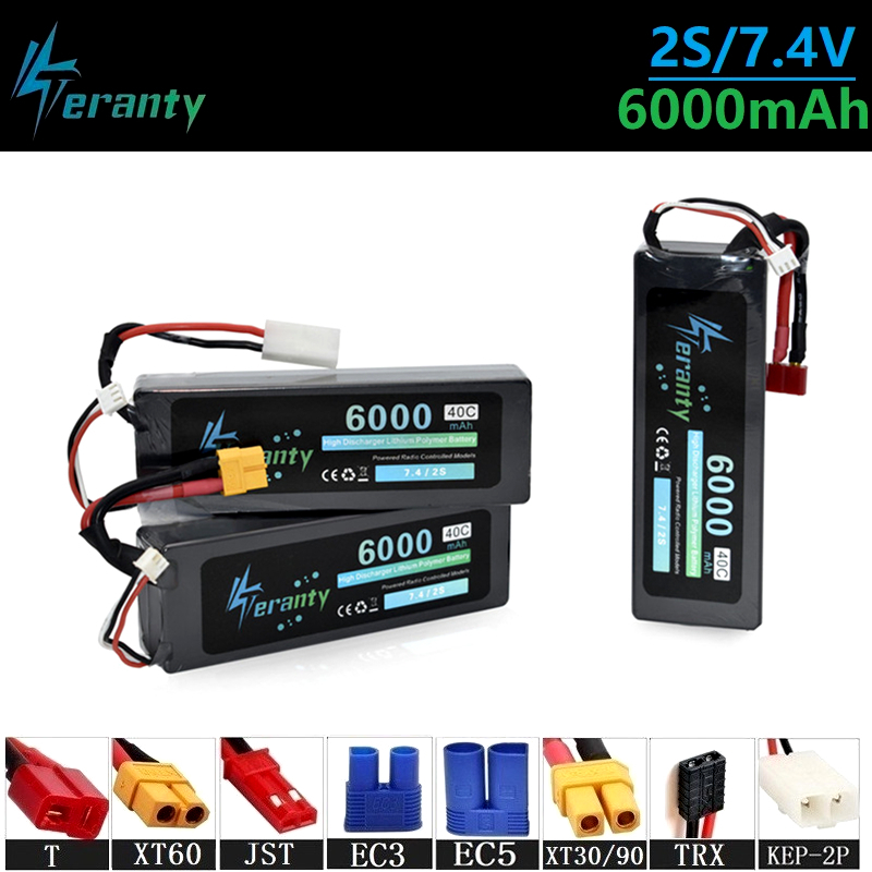 Upgrade 40C 7.4v <font><b>6000maH</b></font> <font><b>Lipo</b></font> Batterry For RC Quodcopter Cars Boats Drone Spare Parts <font><b>2s</b></font> <font><b>6000mah</b></font> 7.4v Rechargeable Battery 1Pcs image