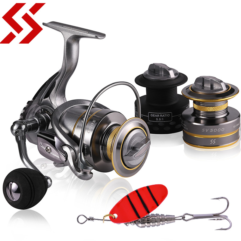 Sougayilang 13+1BB Spinning Reel with Free Spool Fishing Reel 5.1:1 5.5:1 Gear Ratio Spinning Reel Carp Fishing Reel