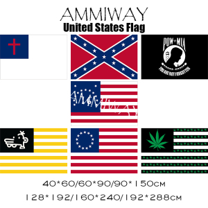 AMMIWAY Christian Flag United States USA Federation Flag POW MIA Battle of Bennington Manny Weed Leaf USA Flags and Banners