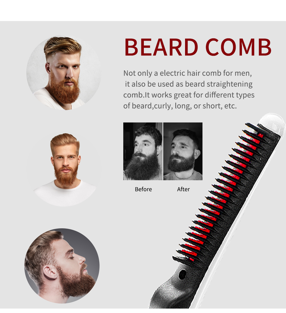 Quick Beard Straightener Hair Comb Multifunctional Hair  For Man Curler Show Cap Tool Electric Heating Hair Brush 8