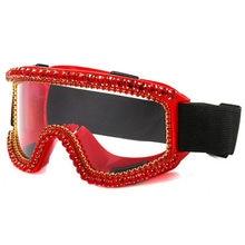 Óculos de isolamento anti-nevoeiro transparente totalmente fechado anti-bacteriano anti-poeira anti-respingo strass óculos de esqui