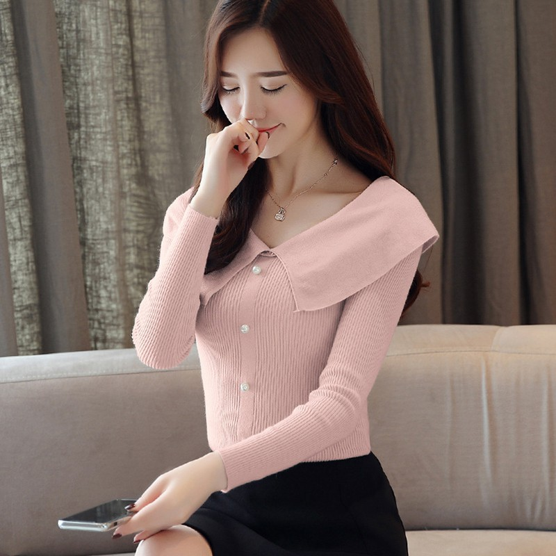 Women Autumn Winter Temperament Kintted Button Sweater  Long Sleeve Turn-down Collar Casual Sweater