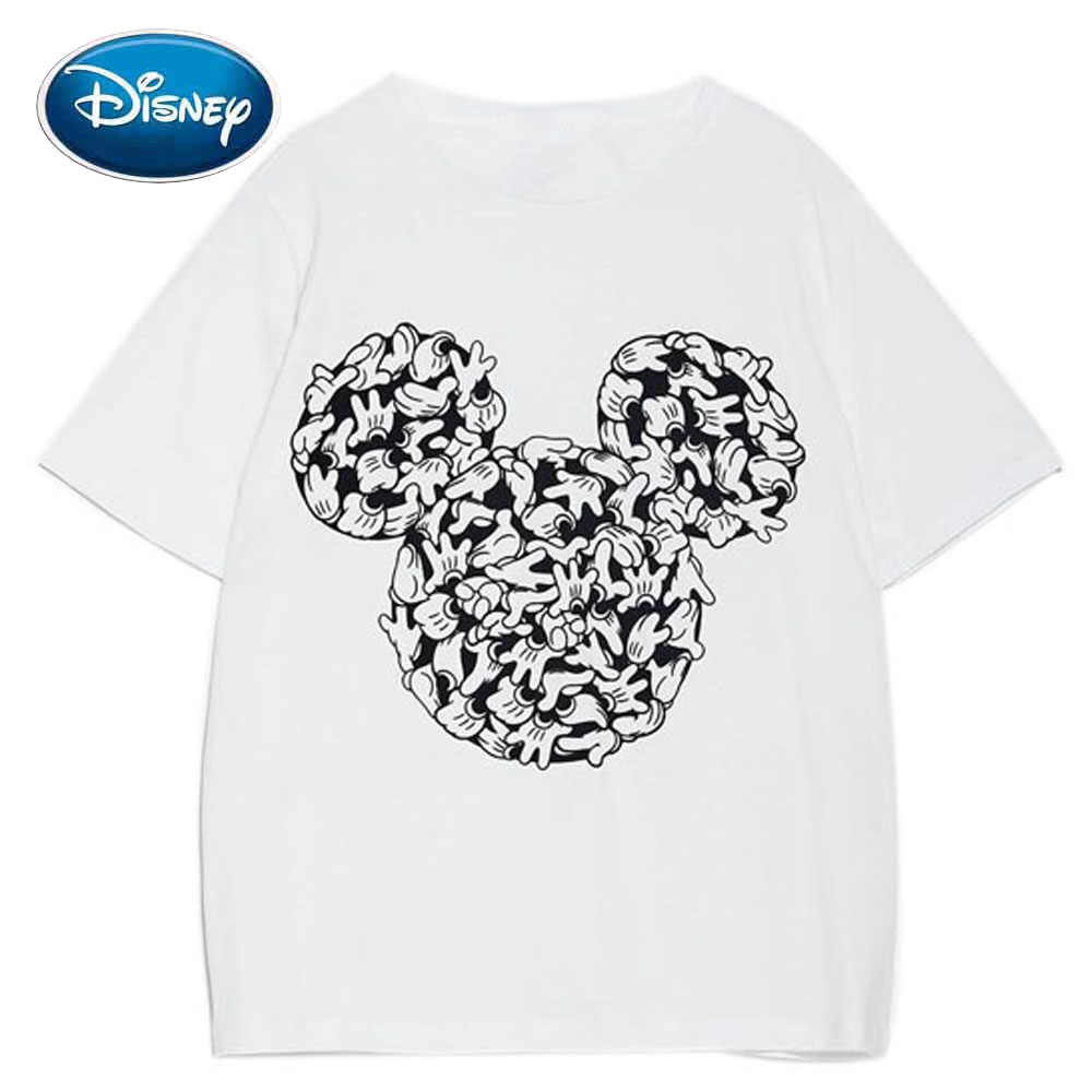 Disney Chic Fashion Mickey Mouse Hand Avatar Cartoon Print Vrouwen T-shirt O-hals Trui Korte Mouw Casual Losse Witte Tee Top