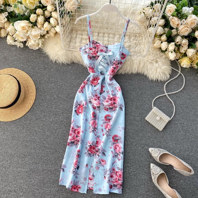 FTLZZ Vintage Floral Print Dress Sleeveless Dress Summer Women Sexy Backless Long Dress Female Elegant Beach Party Dress
