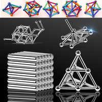 Metal Magnets Cube Magic Building Blocks Children Educational Puzzle Toys Innovative Bucky Magnetic Sticks Steel Balls Set