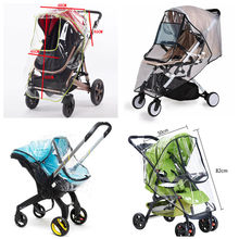 Stroller Accessories Waterproof Rain Cover Transparent Wind Dust Shield Zipper Open For Baby Strollers Pushchairs Raincoat(China)
