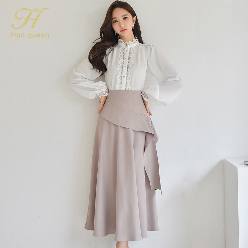 H Han Queen 2 Pieces Women 2021 Spring Sexy OL Long Sleeve Lace Office Lady Casual Loose Big Swing Women's Elegant Party Dress 1