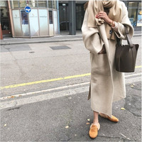 Wool coat women's long maxi beige white coat winter Wool Blends coat runway brand warm 100% wool coat outfit high quality