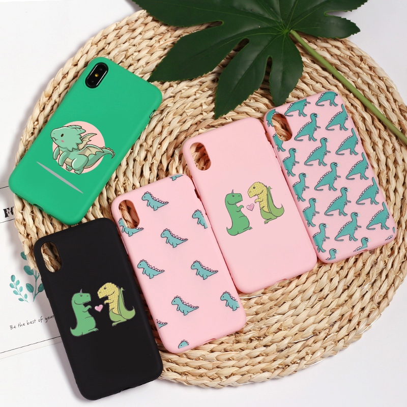 Cute Cartoon Dinosaur Patterned Silicone Frosted Matte Soft Case Fundas Capas Cover For iPhone 11 Pro 7 7Plus 8 X XS Max XR Case