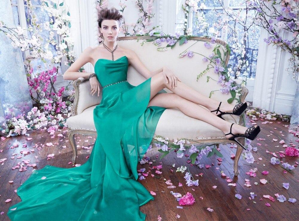 Sexy Short Prom Dresses 2015 Sleeveless Party Evening Dress Backless Free Shipping Crystal Belt Green Chiffon Vestido De Festa