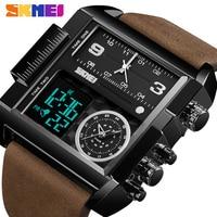 Skmei Luxe Top Mannen Quartz Analoge Digitale Sport Horloges Mode Militaire Zwarte Horloge Heren Waterdichte Klok Relogio Masculino