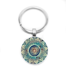 2019 New Vintage Glass Round Keychain Buddhist Chakra Indian Yoga Mandala