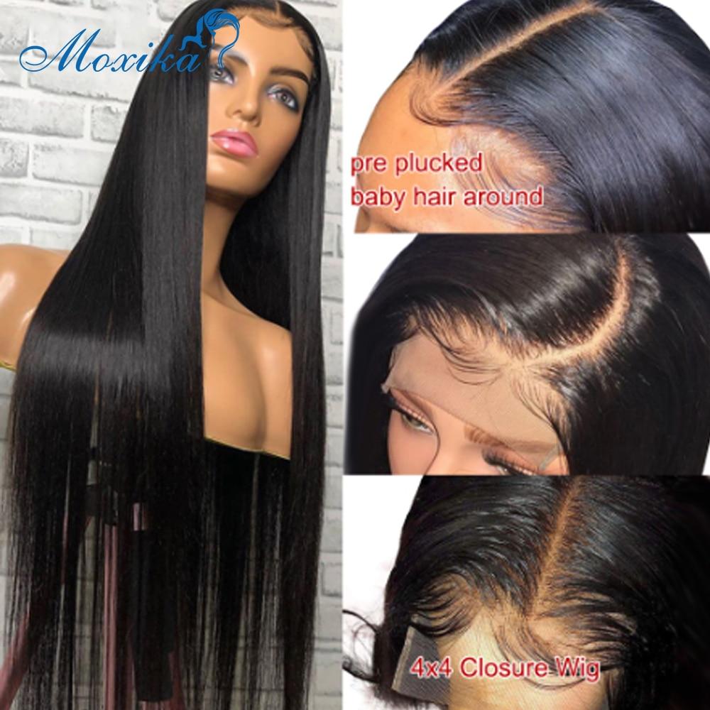 4x4 fechamento do laço peruca em linha reta perucas de cabelo humano para mulheres negras remy 180% densidade peruca do laço cabelo humano fechamento do laço peruca