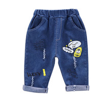 все цены на Baby Boy Girl Pants 0-4T New Autumn Casual Fashion Toddler Baby Cartoon Printing Jeans Kids Trousers Children's Denim Pants #m онлайн