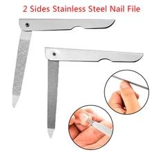 1PC Professional Edelstahl Nagel Datei Doppel Seite Falten Schleifen Stange Maniküre Pediküre Peeling Nagel Kunst Werkzeuge Nagel Dateien