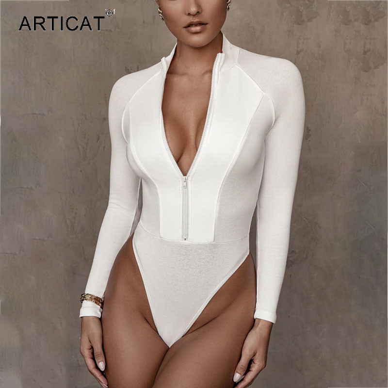 Articat Patchwork Skinny Bodysuit Women Long Sleeve Mock Collar Zipper Solid Bodycon Romper 2020 Casual Woman Clothes Outfits