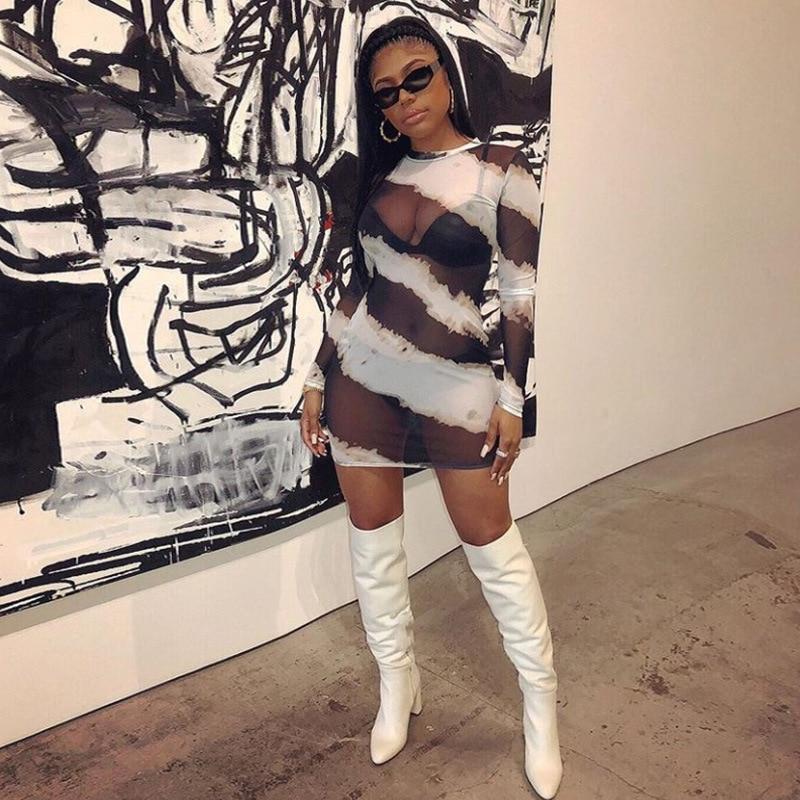 2019 Сетчатое прозрачное сексуальное обтягивающее платье для вечеринок, Полосатое Платье с принтом, большие размеры, круглый вырез, длинный рукав, Осеннее повседневное прозрачное сексуальное мини-платье, Vestidos, женская одежда