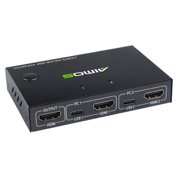 4K USB HDMI KVM Switch Box Video Display USB Switcher Splitter for 2 PC Sharing Keyboard Mouse Printer Plug and Play with Cable 10km 4k hdmi kvm extender usb mouse keyboard extension by single fiber cable cord transmission dvd video player pc to tv hdtv